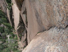 Rock Climbing Photo: Looking down at the crux from directly atop.