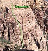 Rock Climbing Photo: The line of Degunker, on the south face of the Jac...