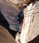 Rock Climbing Photo: Rope tricks on pitch two.  The steady rain of smal...