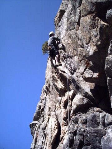 Rock Climbing Photo: Getting it done w/ draws in place!