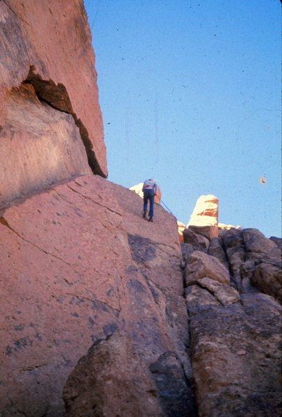 Cinnamon Slab: Smith Rock 1973<br> <br> Smith Rock before (most) bolts. Stan Thomas rapping down Cinnamon Slab.
