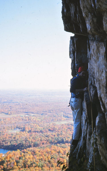 Double Crack: Gunks 1974<br> <br> Doug Fosdick leading Double Crack on a beautiful autumn day.