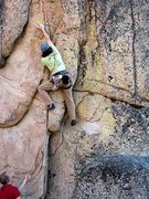 Rock Climbing Photo: Euan climbing to the first bolt on Edgeucator (5.1...