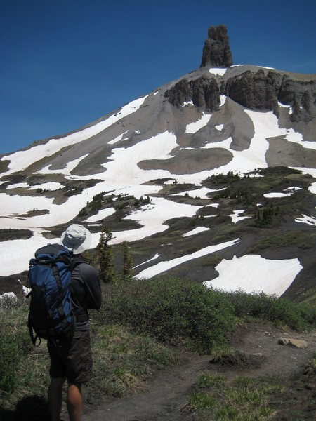Lizard Head from treeline.  Approach was mostly dry on 6/22 after a huge snow year.