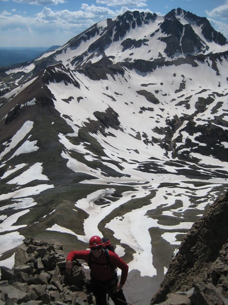 Rock Climbing Photo: Last moves to the summit on 6/22.