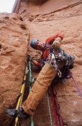Rock Climbing Photo: Matt Pickren on the stud-ladder on pitch one.