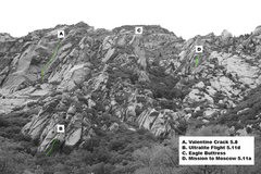 Rock Climbing Photo: Beta shot of the Eagle Buttress area as seen from ...