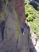 Rock Climbing Photo: Looking down on the crux runout.