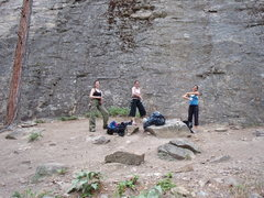 Rock Climbing Photo: The girls gearing up at the Lower Red Tail area. T...