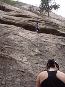Rock Climbing Photo: Ha is moving to the bulge.