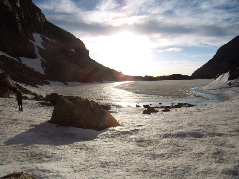 A still frozen Chasm Lake on June 23rd 2008.