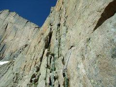 Rock Climbing Photo: Jordon Griffler starting up Directissima on the Ch...