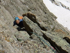 Rock Climbing Photo: Jordon following the wide pitch of Directissima.  ...