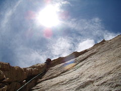 Rock Climbing Photo: Jordon Griffler leading out the crux 5.10 b move o...