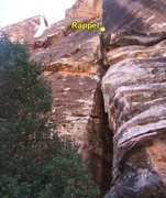 Rock Climbing Photo: Looking up the route from the base.  Rap is from a...