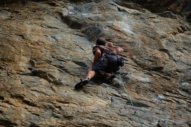 Jeff going for the good horn before the crux.