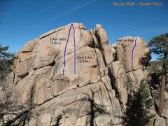 Rock Climbing Photo: Photo topo of Seuss Wall - South Face, Keller Peak...