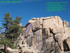 Rock Climbing Photo: Photo topo of Seuss Wall - West Face, Keller Peak.