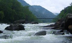 Rock Climbing Photo: Mountain weather and the old bridge at Fayette Sta...