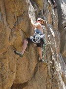 Rock Climbing Photo: Michelle working the lower crux of The Hangin' Jud...
