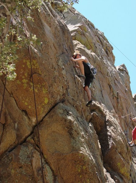 Rock Climbing Photo: Michelle starting the upper crux.