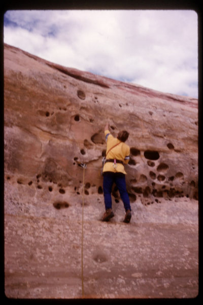 The first pitch of Church Rock c1984