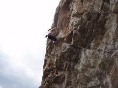 Rock Climbing Photo: Val finishing up the last couple moves on Not Fade...
