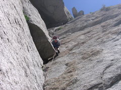 Rock Climbing Photo: Hoskins Leading pitch 4.  About 15 ft below the of...