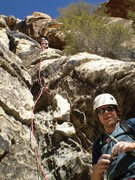 TJ looking Smiley, Doug on 'lead'.  First pitch of the Gully