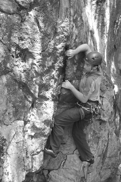 Rock Climbing Photo: dave figuring out the crux...