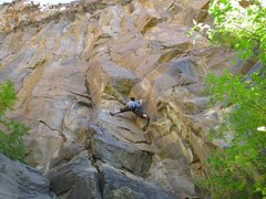 Rock Climbing Photo: Chris on Smilin Jay (climb follows crack left of t...