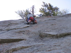 Rock Climbing Photo: Me leading the thin upper section of Pentapitch