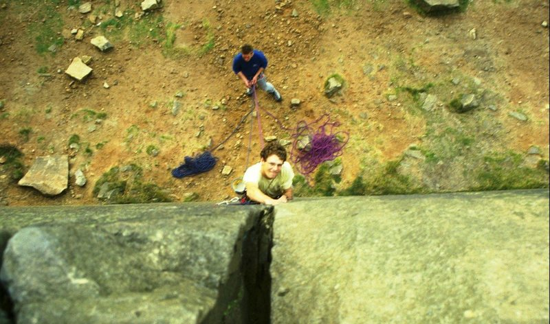 Paul enjoying the first pitch of Embankment 2, 5.8