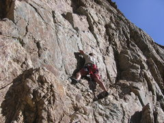 Rock Climbing Photo: Making my way to the mantle.  The wall is slightly...