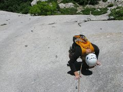 """Rock Climbing Photo: Maura climbing the slab to the belay after """"T..."""