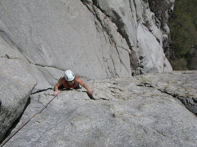 Maura climbing Becky's Wall.