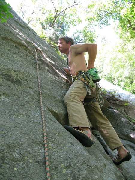 Rock Climbing Photo: Ben looking at the first bolt after a failed onsig...