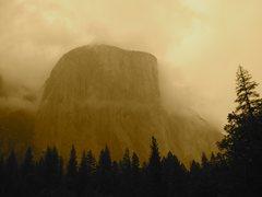 Rock Climbing Photo: El Cap in a storm, May 2008.