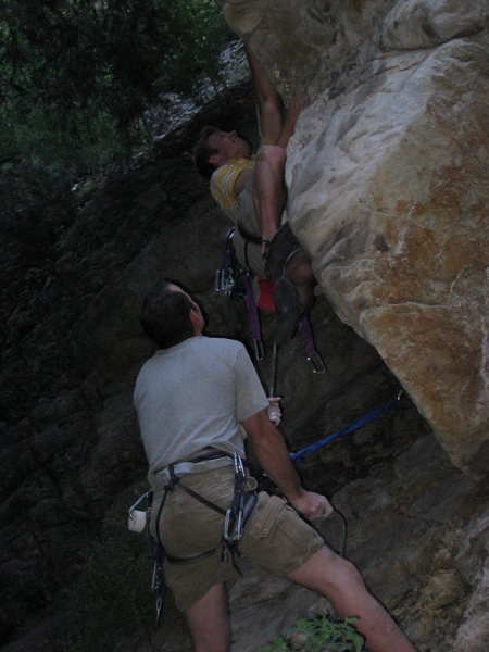 Rock Climbing Photo: Me using the finger lock to get up to the crimper ...