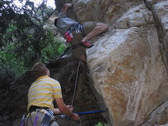 Rock Climbing Photo: Hoskins trying to move left, from the good ledge, ...