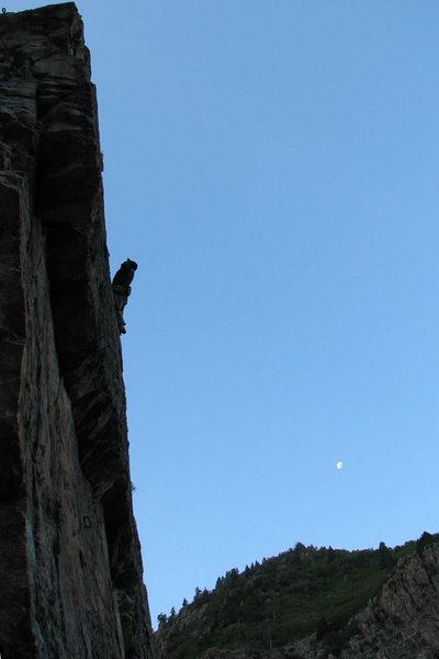 Kip Henrie climbing <em>Quality</em> early on a June morning.