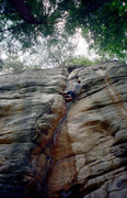 Rock Climbing Photo: At the crux of Agent Orange. Circa '98.