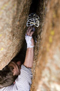 Rock Climbing Photo: Plugging in at the crux...getting the piece deep w...
