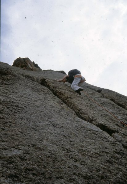 Pear Buttress: The Book, Lumpy Ridge 1978<br> <br> Wendy Weiss leading a pitch on the Pear Buttress