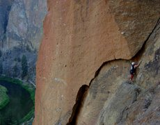 Rock Climbing Photo: JimG starting the second (5.5) pitch of Cinnamon S...