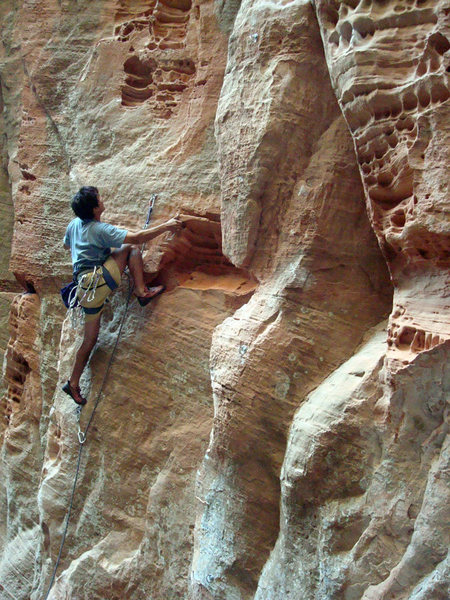"""Tim Sinson cruising """"Cool Reception"""", 5.10b, in the Doctor's Office"""