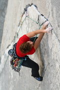 Rock Climbing Photo: Mary Devore coming up on the crux of Wages of Skin...