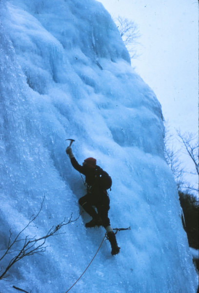 Standard Route: Frankenstein Cliff NH 1975<br> <br> Bob Dodds leading the second pitch.