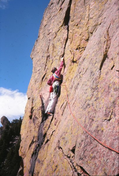 Rewritten: Eldorado Canyon 1978<br> <br> Beginning the handcrack on the 4th pitch. One of the best moderates in the Canyon.