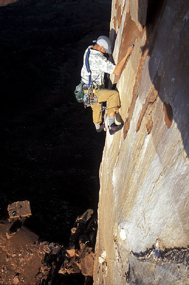 Jason Lakey on the first pitch of the North Face.